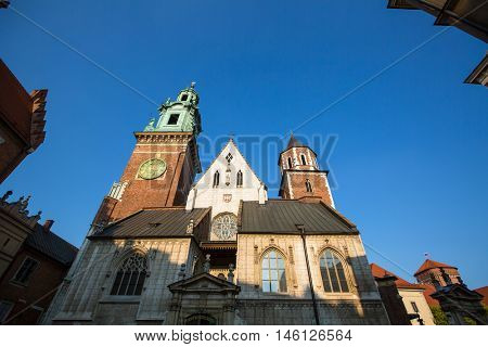 Wawel castle with cathedral in Krakow, Poland.
