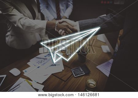 Business Start up Paperplane Launch Concept