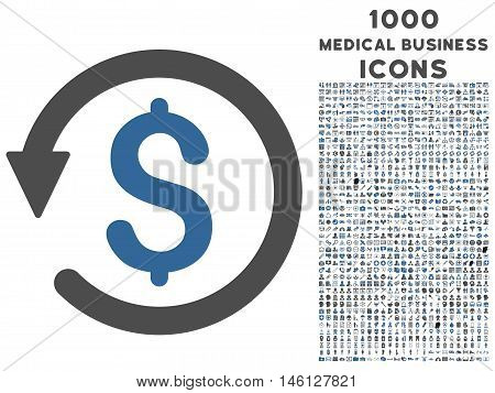 Chargeback raster bicolor icon with 1000 medical business icons. Set style is flat pictograms, cobalt and gray colors, white background.