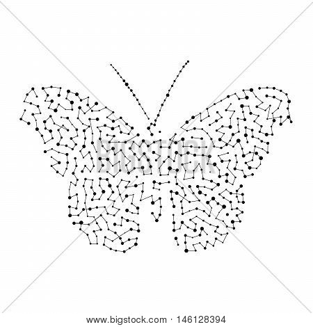 Silhouette of butterflies of different sizes of dots connected by lines.