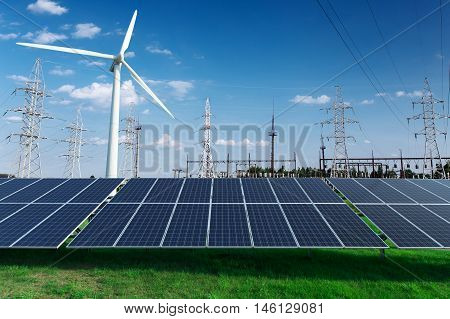 Electric industrial. Power station windmill and solar panels