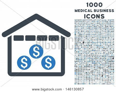 Money Depository raster bicolor icon with 1000 medical business icons. Set style is flat pictograms, smooth blue colors, white background.