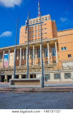 MONTEVIDEO, URUGUAY - MAY 04, 2016: the city hall located in the main aveneu uf montevideo is the second highest building in the city.