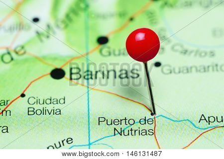 Puerto de Nutrias pinned on a map of Venezuela