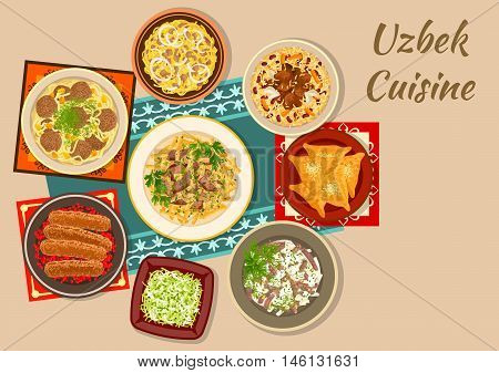 Uzbek cuisine dishes sign with meat pie samsa, kebab with pomegranate, pilaf with beans, pickled radish, egg omelet meat salad, radish salad with lamb, chickpea, meatball and beef soups with noodle