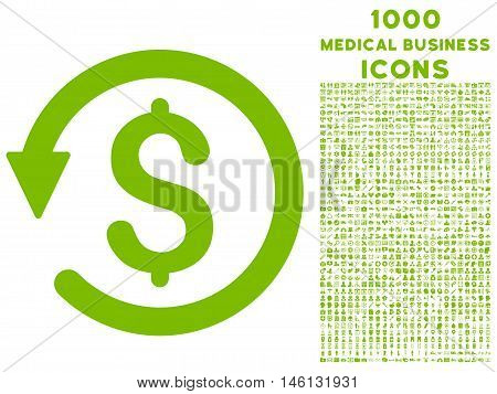 Chargeback raster icon with 1000 medical business icons. Set style is flat pictograms, eco green color, white background.