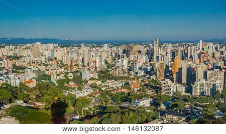 CURITIBA , BRAZIL - MAY 12, 2016: nice view of some buildings in the city, blue sky as background.