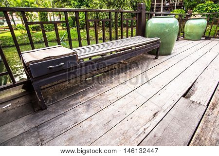 Wood Bench outside Thai House Thailand Architecture