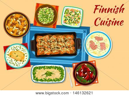 Finnish cuisine fish and meat dishes icon with fried salmon, herring and potato forshmak, creamy salmon soup, karelian meat stew, cured reindeer meat, fish rice soup, salmon salad, mackerel fricassee