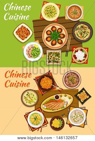 Chinese cuisine icon with peking duck, noodles with beef and mango salad, sour pork, beef steak, seafood stew, chicken corn, rice and anise soups, meat with peanuts, hot and sour soup, rice balls