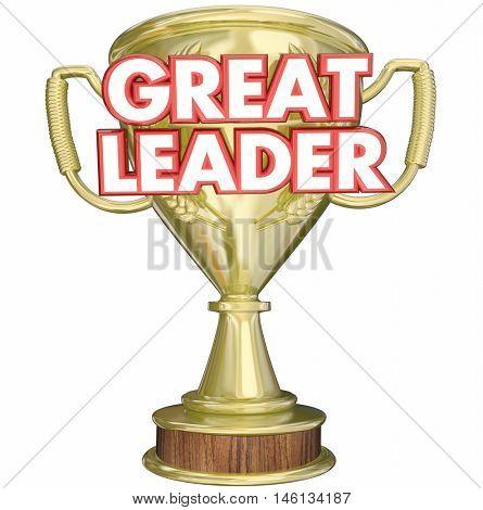 Great Leader Manager Boss Superviser Trophy Prize Award 3d Illustration poster