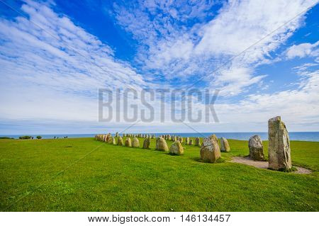 Radiant view of Ales stones, impressive megalithic monument in Skane, Sweden