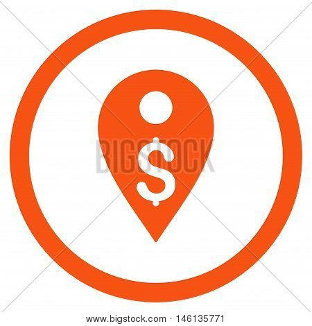 Dollar Map Marker glyph rounded icon. Image style is a flat icon symbol inside a circle, orange color, white background.