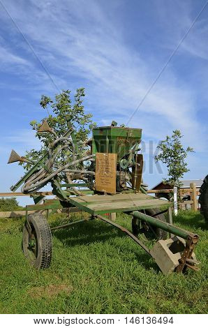 ROLLAG, MINNESOTA, Sept 1, 2016: A Niagara, crop duster for controlling potato bugs is displayed at the West Central Steam Threshers Reunion(WCSTR) where 1000s attend each Labor Day weekend in Rollag, MN each year.