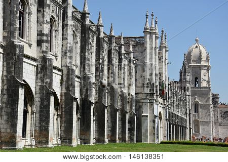LISBON, PORTUGAL - AUG 21: Jeronimos Monastery at Belem in Lisbon, Portugal, as seen on Aug 21, 2016. It was classified a UNESCO World Heritage Site in 1983.