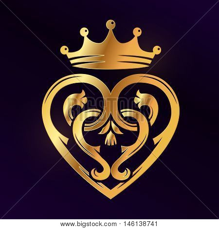 Golden Luckenbooth brooch vector design element. Vintage Scottish heart shape with crown and thistle symbol logo concept. Valentine day or wedding illustration on dark background.