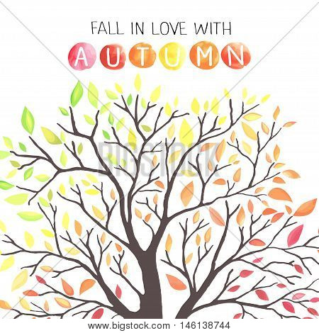 Autumn tree with colorful leaves. Watercolor imitation in vector. Each object is separately, easy to edit.