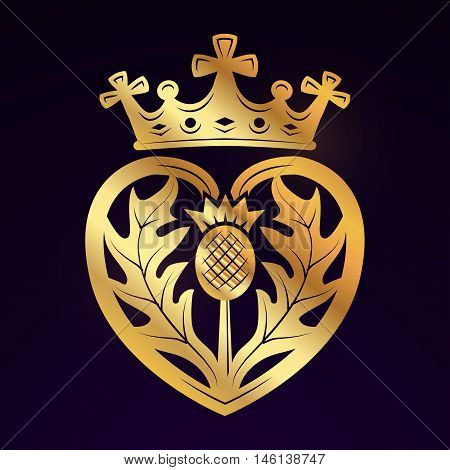 Luckenbooth brooch vector design element. Vintage Scottish heart shape with crown symbol logo concept. Valentine day or wedding illustration on dark background.