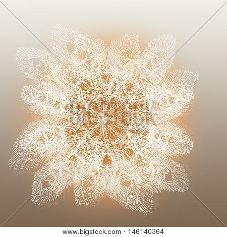 Raster pattern with feathers on grey background