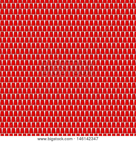 Background of cups in red design on white background