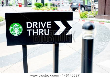 Bangkok ,thailand-march 20 :starbucks Drive Thru Sign On 20 March 2015 At The Community Mall, Bangko