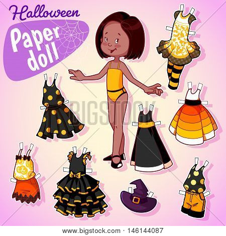 Very Cute Paper Doll With Seven Beautiful Dresses At Halloween.