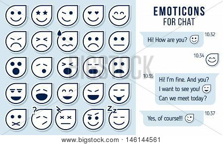 Set of outline emoticons emoji for chat Set of emoji. vector illustration.