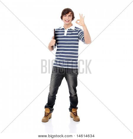 Young happy student man with notebook gesturing perfect,isolated on a white background