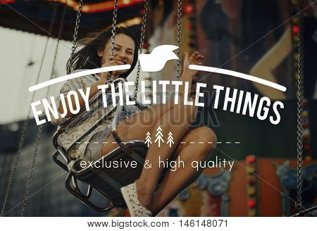 Woman Carnival Ride Riding Happiness Fun Concept