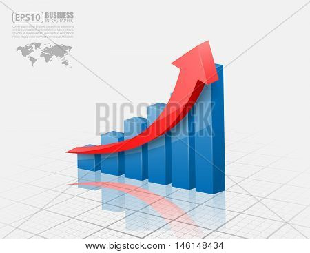 Business concept, Vector illustration of 3d graph