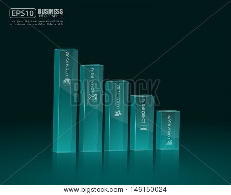 Financial bar graph, 3d graph. Vector Illustration