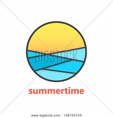 summertime sign with waves and sunset. concept of marine, surfing, surface, exotic, rest, horizon, visual identity. isolated on white background. flat style modern brand design vector illustration