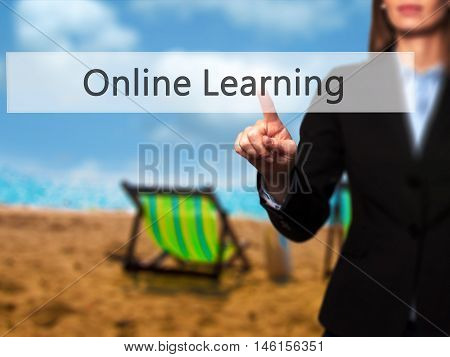 Online Learning - Businesswoman Hand Pressing Button On Touch Screen Interface.