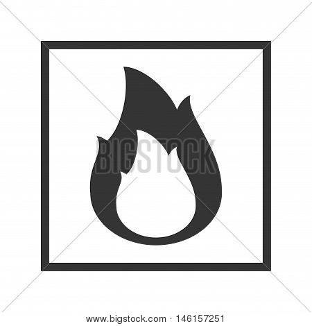Fire warning sign in black square. Flammable, inflammable substance. vector illustration