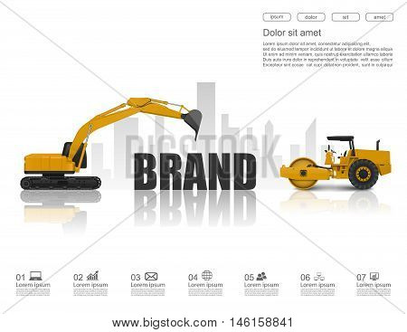 Concept of Building up a brand. Vector Illustration