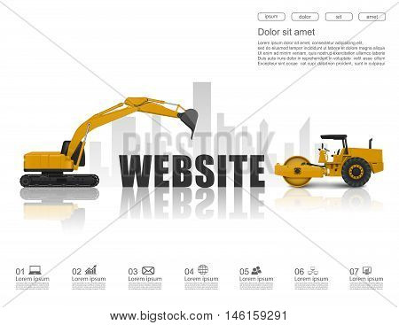 Concept of website with construction machines. vector