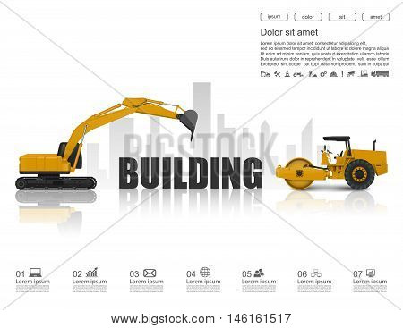 Building under construction concept with construction machines,vector