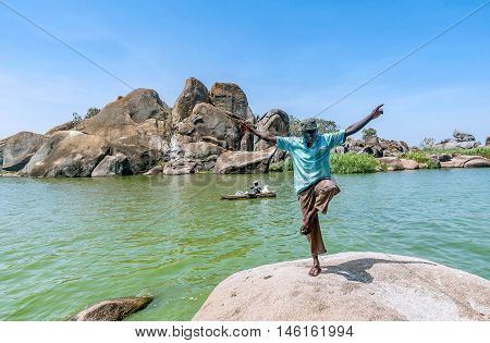 Mwanza,Tanzania- March 26. 2016: African man posing on Lake Victoria near Mwanza,Tanzania