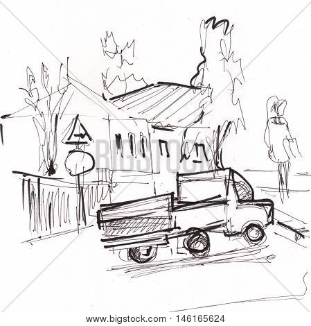 instant sketch lorry on road black and white