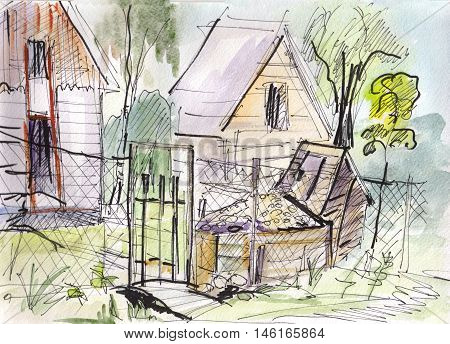 instant sketch fence and gate  in garden watercolor