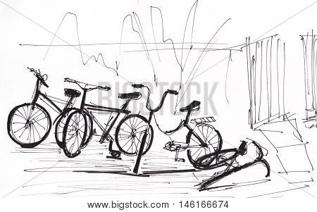 instant sketch bicycles on rest black and white