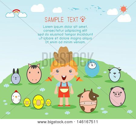 Girl With Farm Animal, village girl with Farm Animals , Illustration of kids and Farm Animals , farm animals and background, Vector Illustration