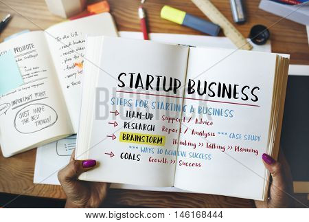 Startup Business Plan Steps Graphic Concept