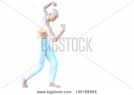 One muscular and bald Asian male. He is half-sitting and shows his muscles on the arms and back. 3D rendering, 3D illustration