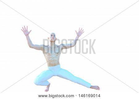 One muscular and bald Asian male. He was half sitting on one foot and shows his hands are open. 3D rendering, 3D illustration