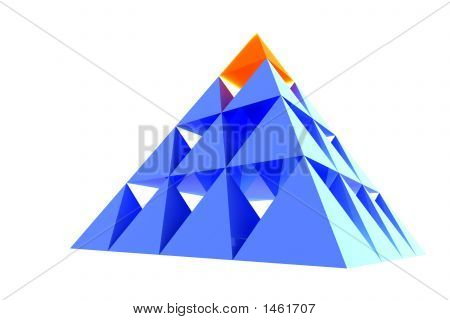 Abstract Blue Pyramid With Orange Top