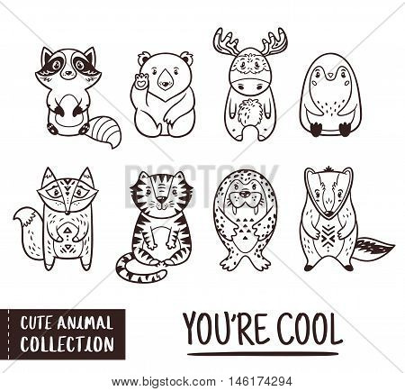 Vector illustration of animal. Funny cartoon outline animals - raccoon, polar bear, moose, penguin, fox, tiger, walrus and badger. Cute childish set