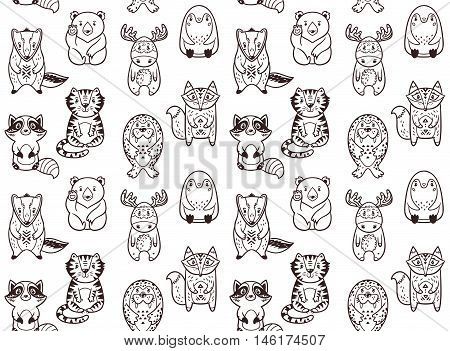 Seamless pattern with cartoon animals. The raccoon, polar bear, moose, penguin, fox, tiger, walrus and badger. Black and white background. Coloring book. Animals zentangle