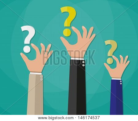 Concept of questioning, hands holding question marks. vector illustration in flat style on green background