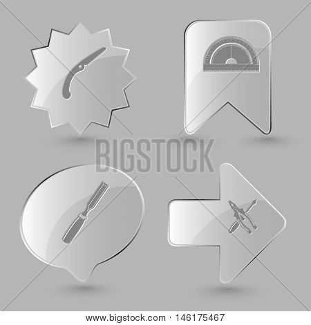 4 images: hand saw, protractor, chisel, screwdriver and combination pliers. Industrial tools set. Glass buttons on gray background. Vector icons.
